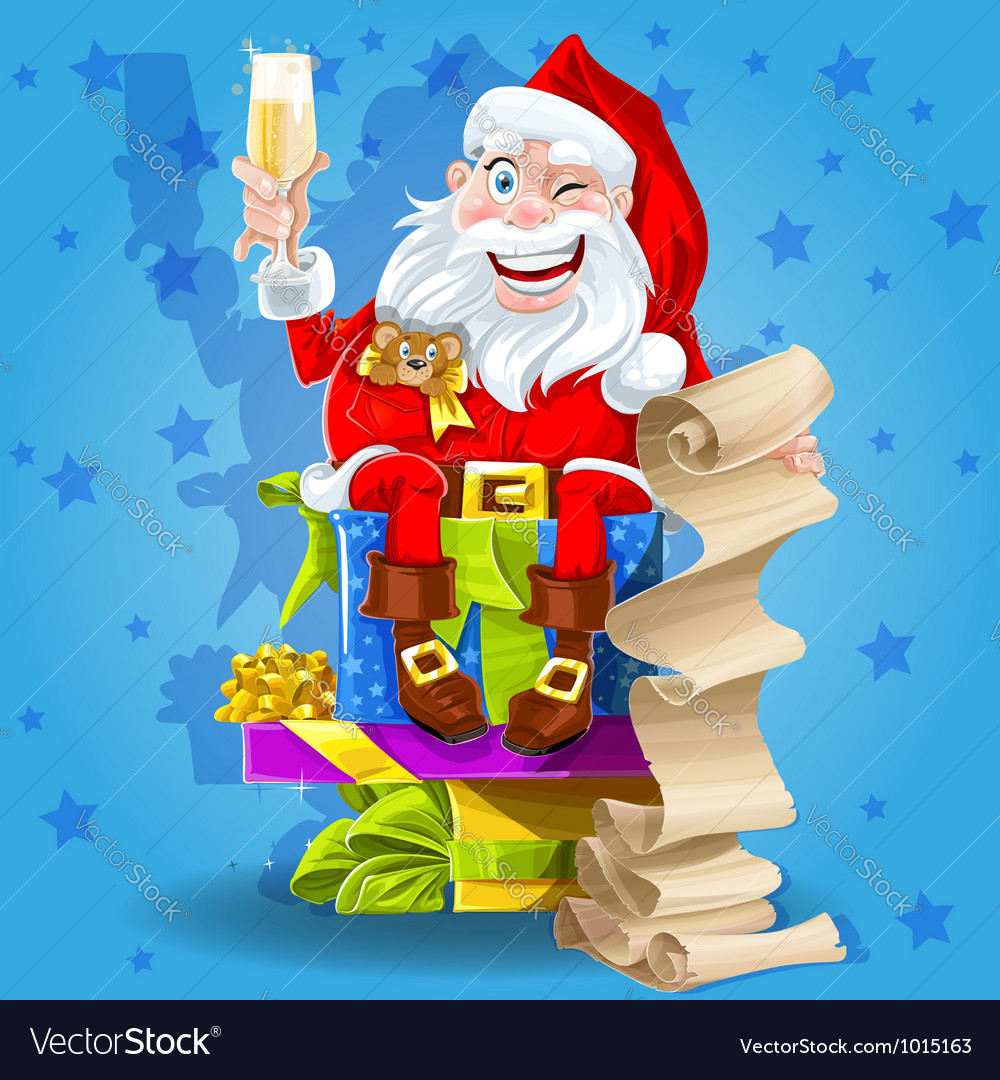 Santa claus with champagne vector | Price: 3 Credit (USD $3)