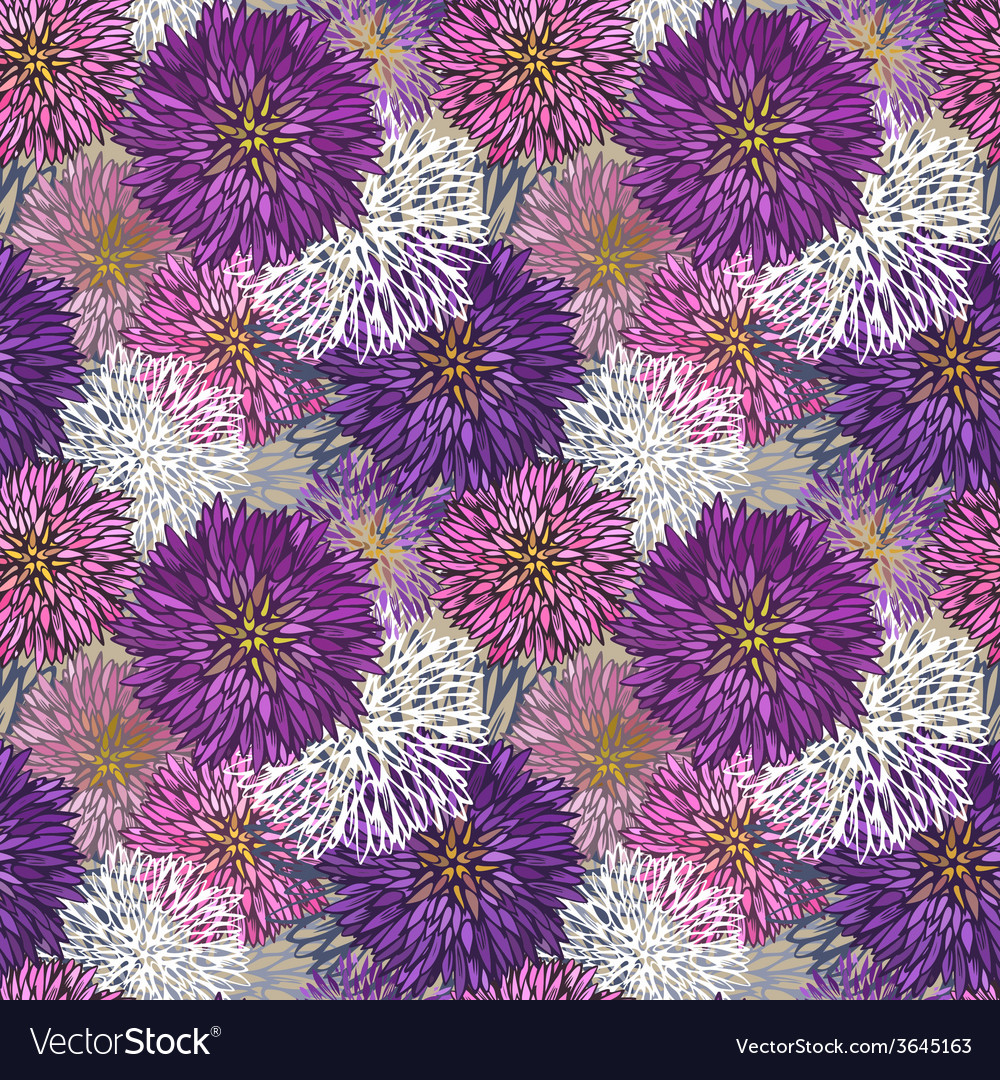 Seamless hand-drawn aster pattern vector | Price: 1 Credit (USD $1)