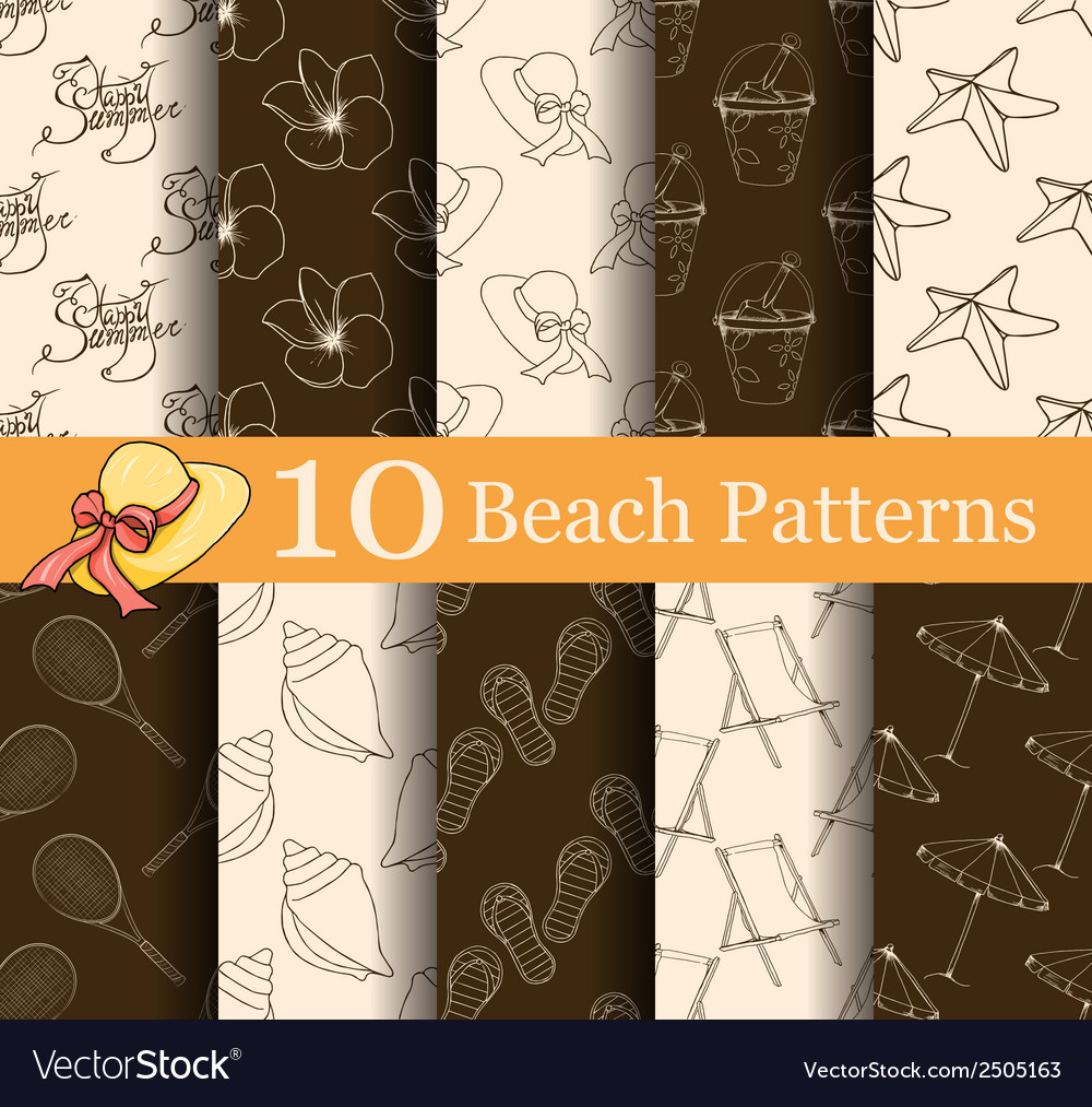 Set of 10 summer seamless patterns vector | Price: 1 Credit (USD $1)