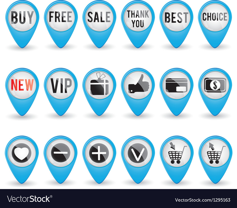 Set of blue 3d shop pointers vector | Price: 1 Credit (USD $1)