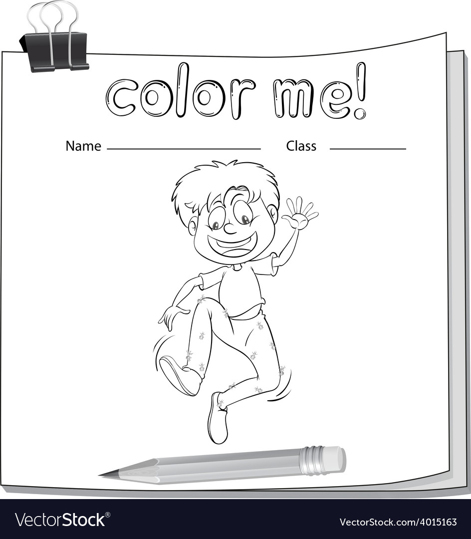 Worksheet showing a boy vector | Price: 3 Credit (USD $3)