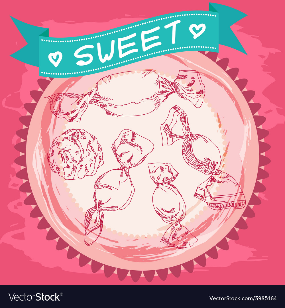 Candy sketch vintage poster pink and blue vector | Price: 1 Credit (USD $1)