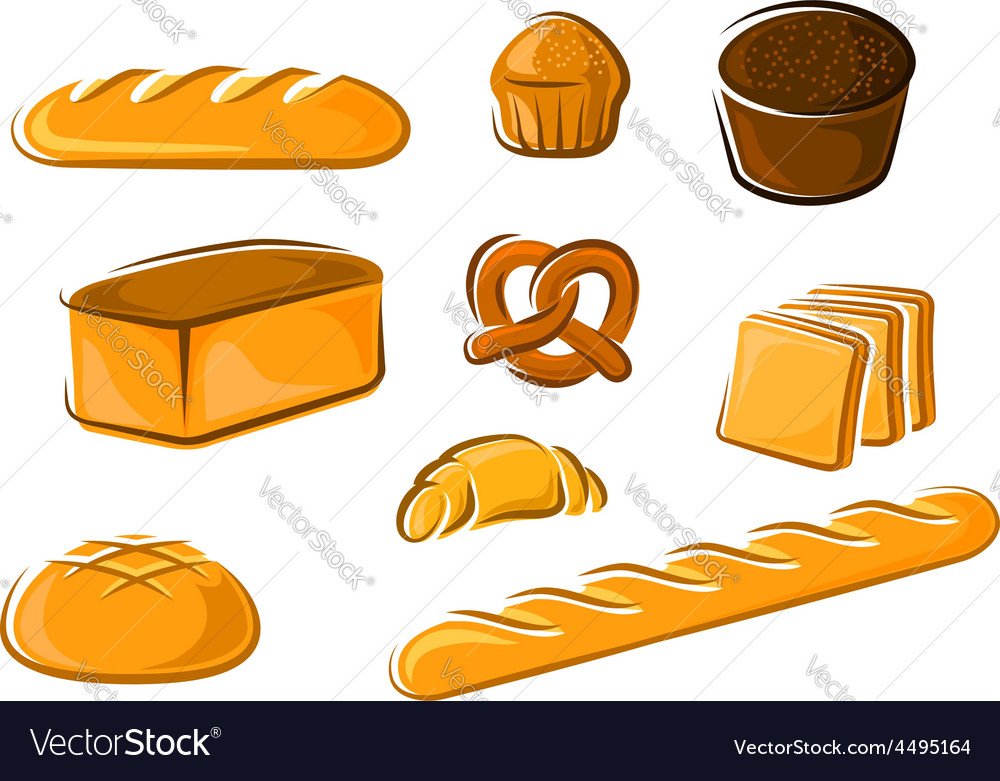 Cartoon bakery products for baker shop design vector | Price: 1 Credit (USD $1)