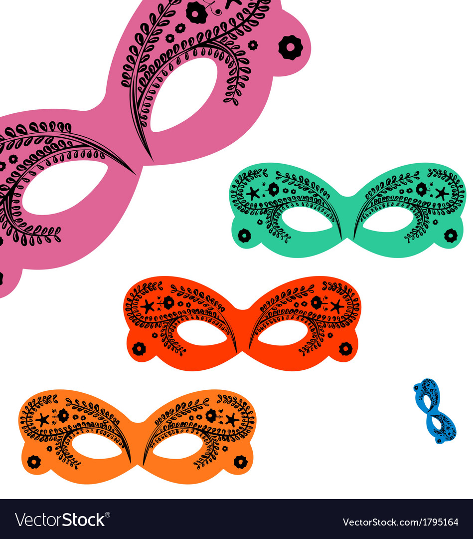 Decorated venetian masks vector | Price: 1 Credit (USD $1)