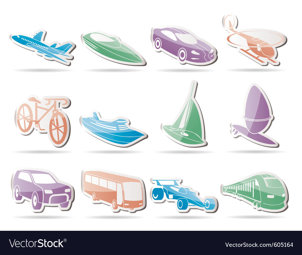 Different kind of transportation and travel icons vector | Price: 1 Credit (USD $1)