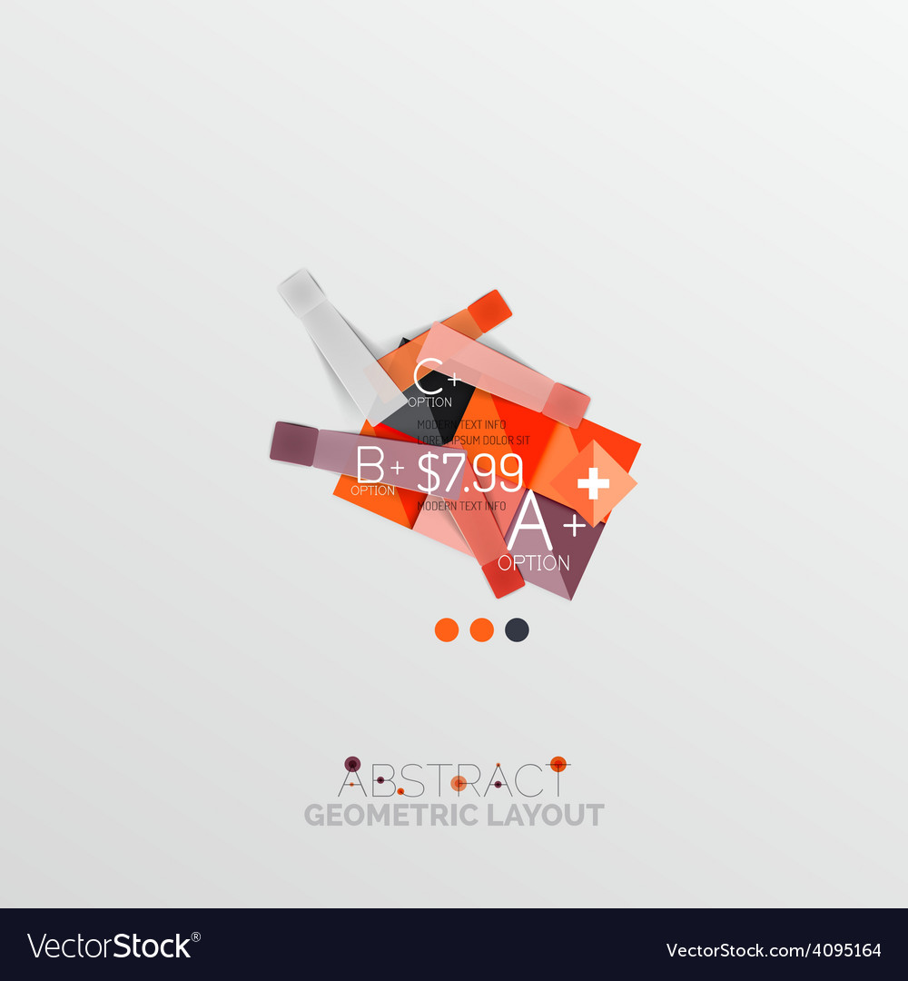 Glossy paper style geometric abstract infographic vector | Price: 1 Credit (USD $1)