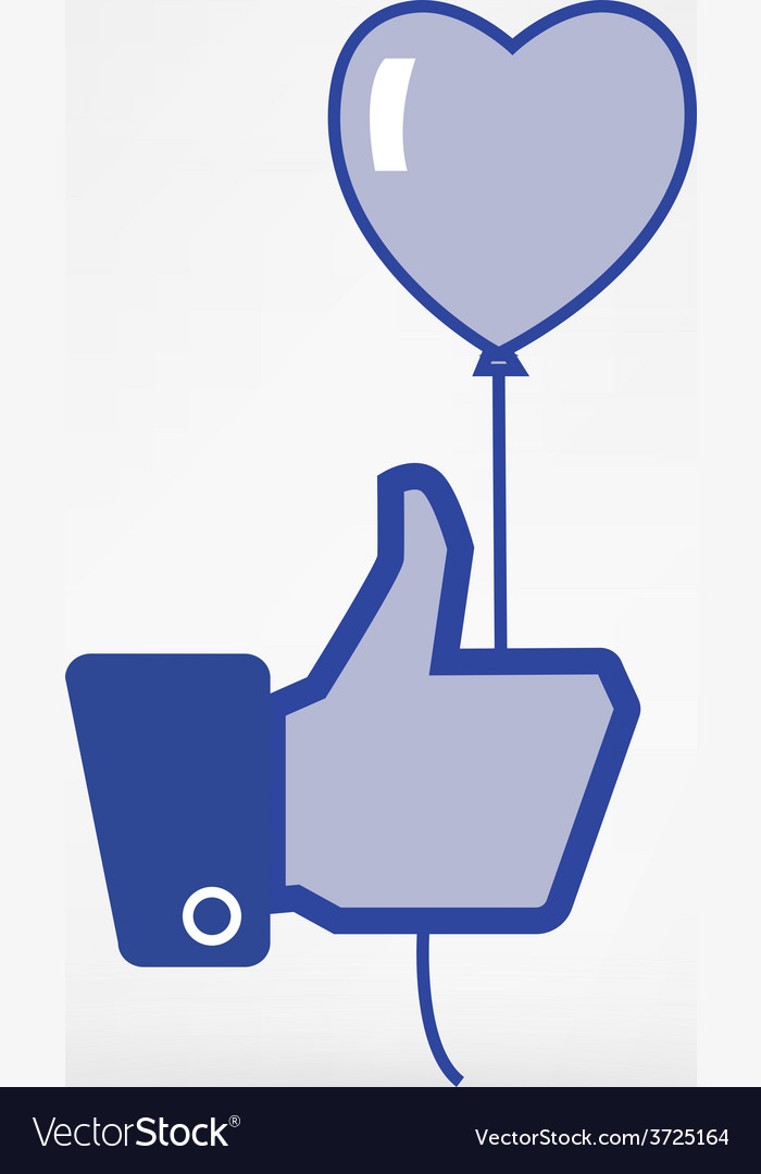 Hand holding heart baloon icon thumb up vector | Price: 1 Credit (USD $1)