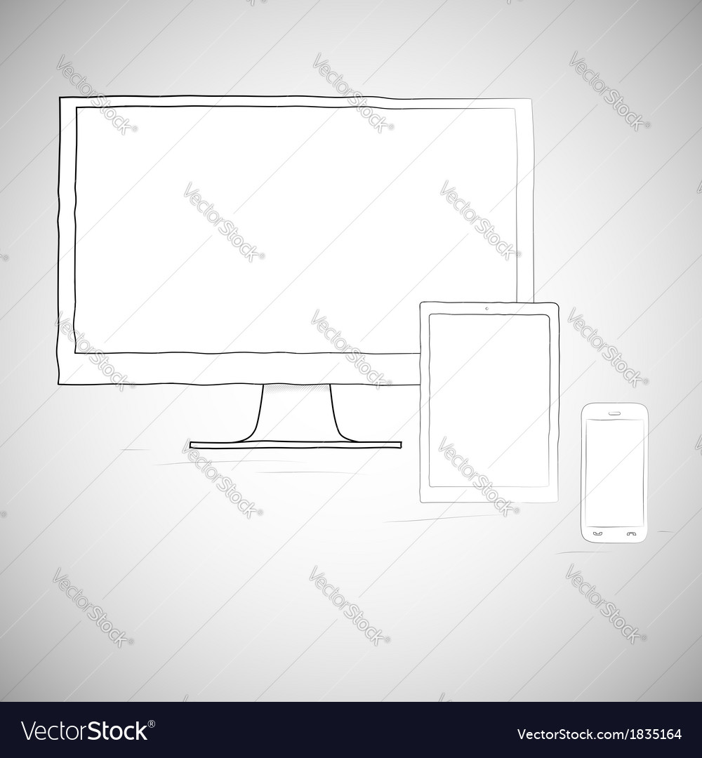 Laptop mobile phone and tablet electronic devices vector | Price: 1 Credit (USD $1)