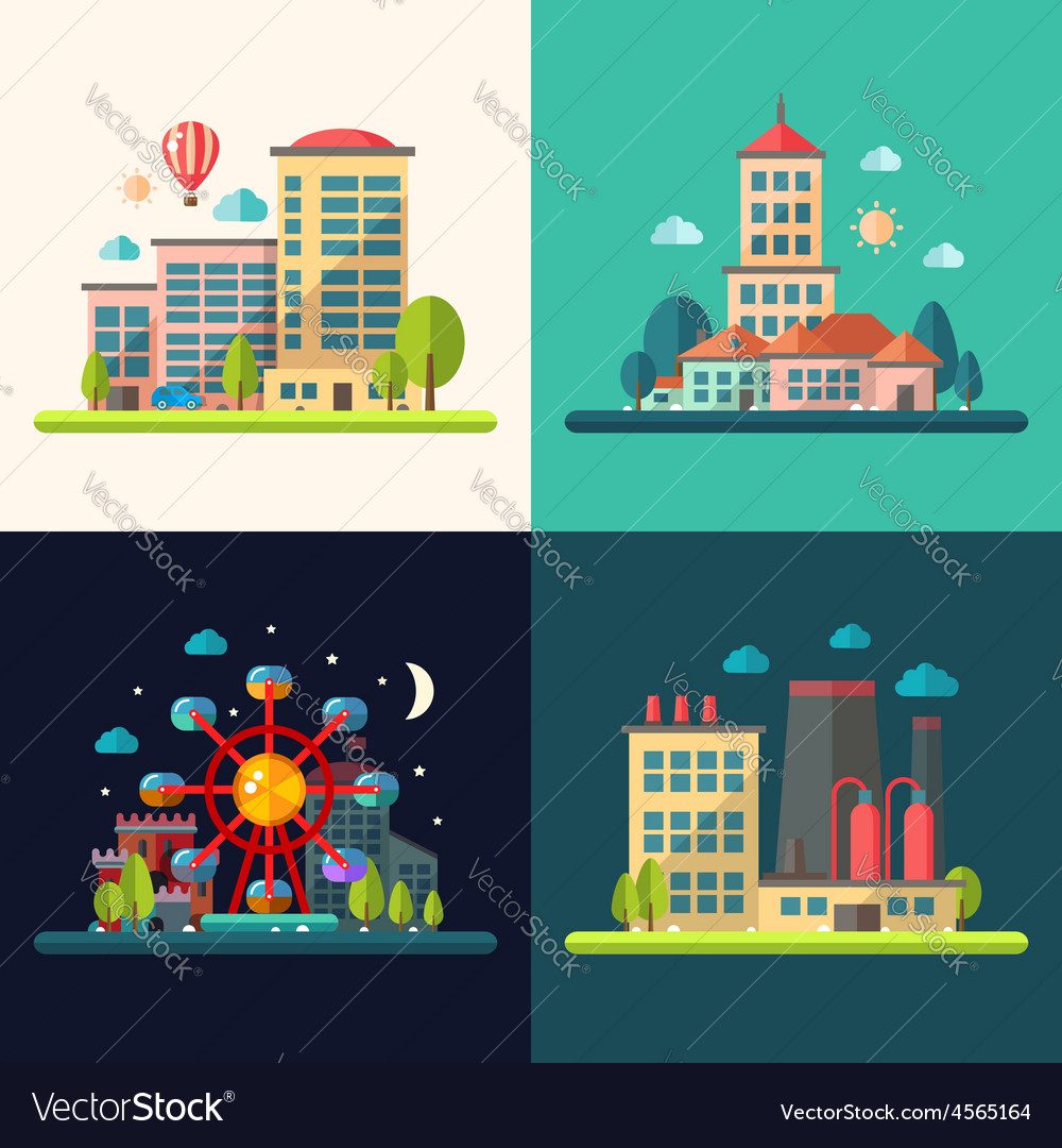 Modern flat design conceptual city vector | Price: 1 Credit (USD $1)