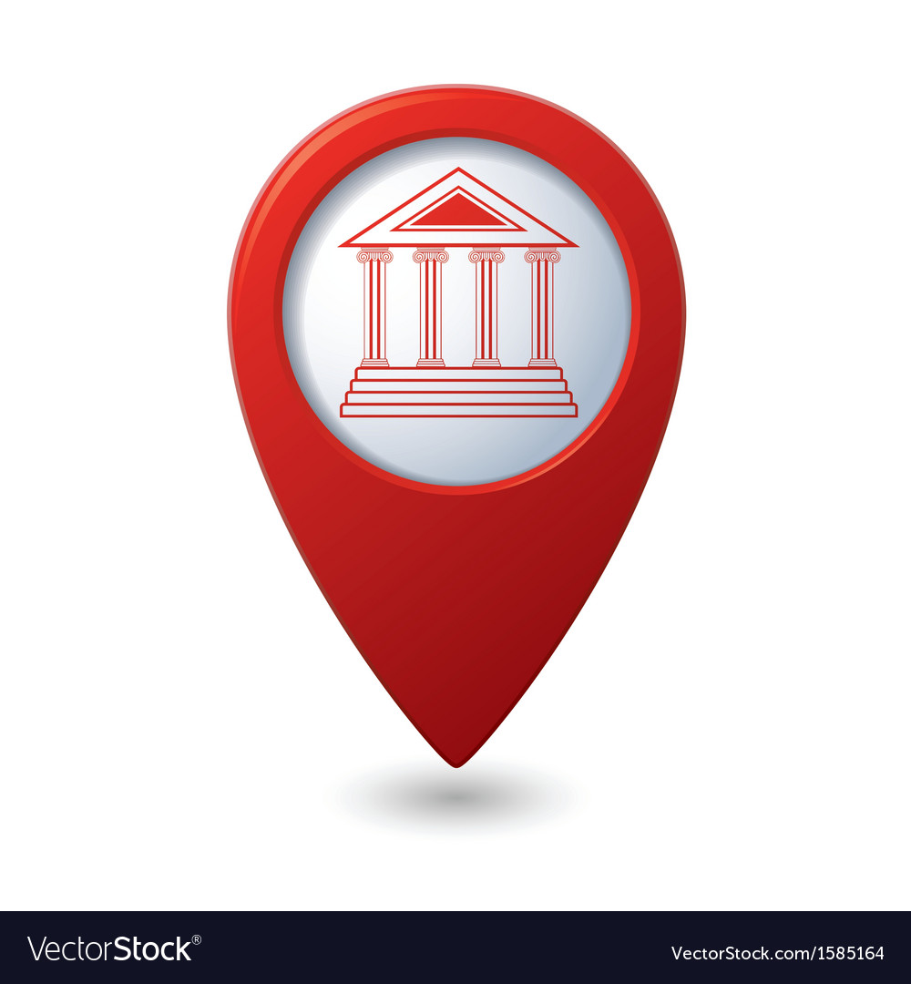 Museum icon red map pointer vector | Price: 1 Credit (USD $1)