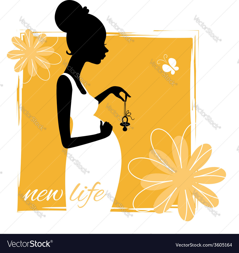 Silhouette of young pregnant woman with pacifier vector | Price: 1 Credit (USD $1)