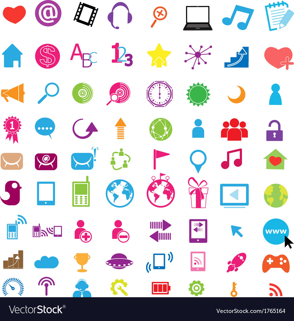 Social color media circles icon network vector | Price: 1 Credit (USD $1)