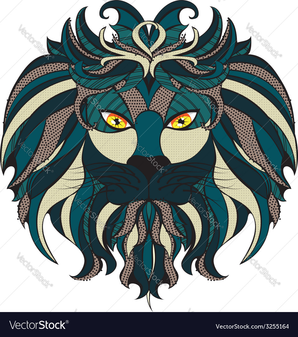 Stylized lion head vector   Price: 1 Credit (USD $1)