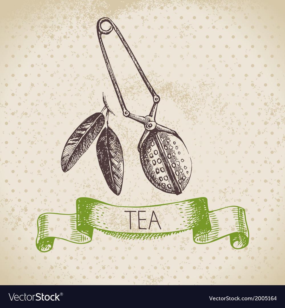 Tea vintage background vector   Price: 1 Credit (USD $1)