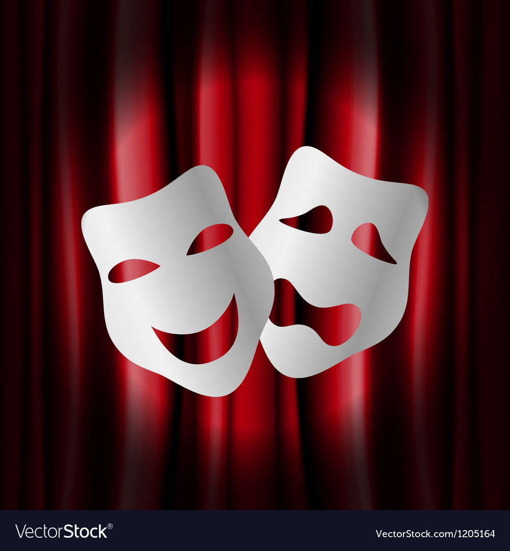 Theater masks with red curtain vector | Price: 1 Credit (USD $1)