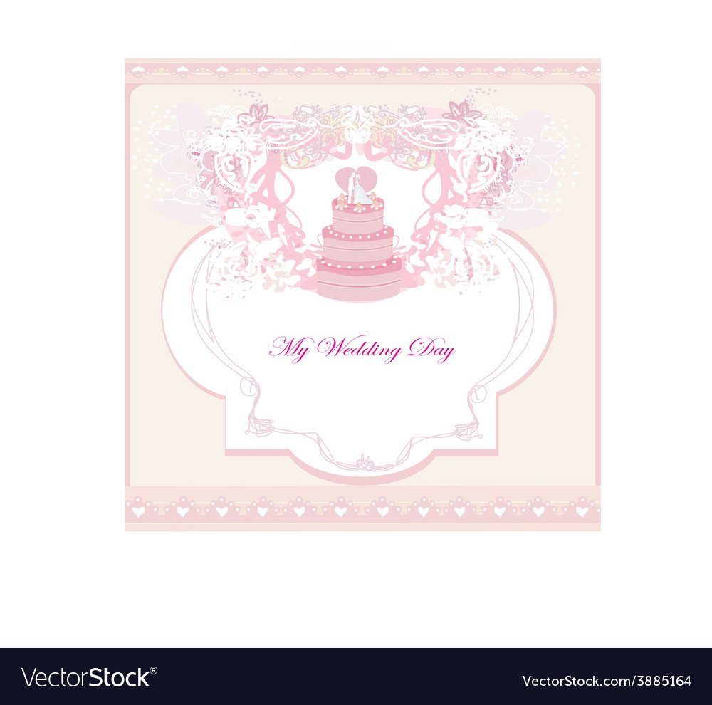 Wedding cake card design vector | Price: 1 Credit (USD $1)