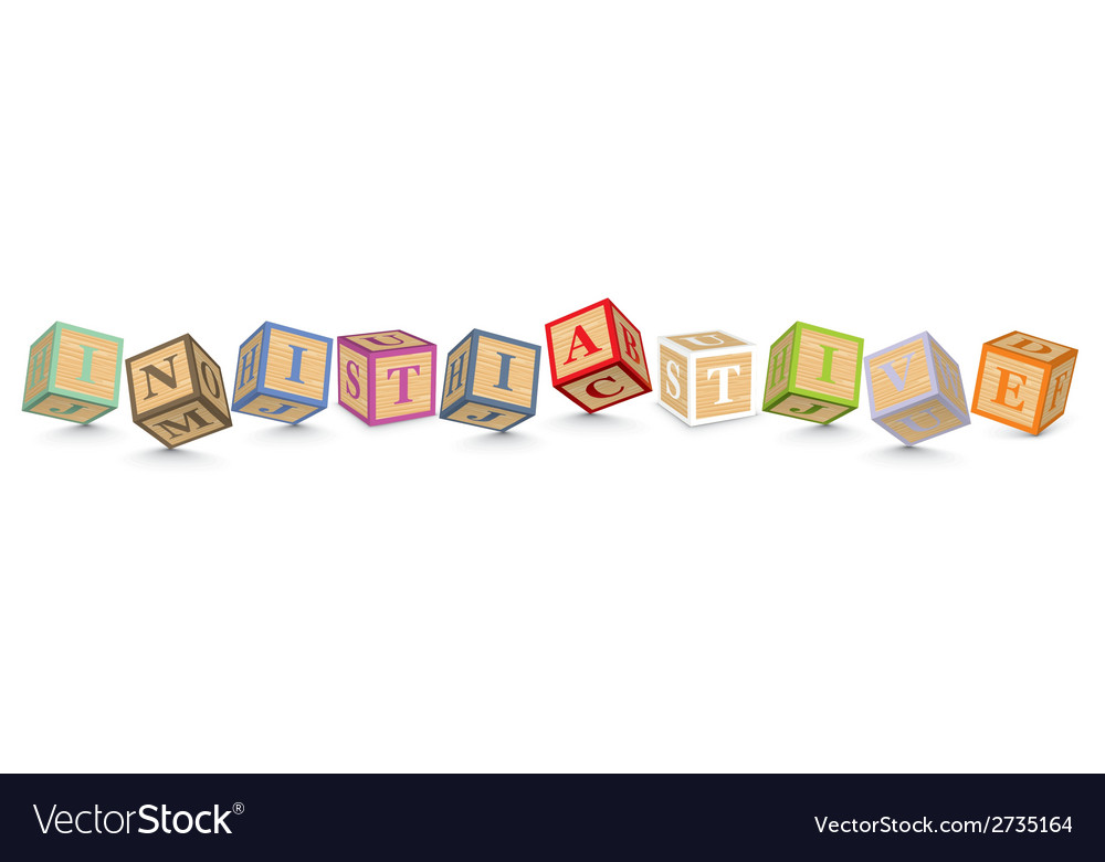 Word initiative written with alphabet blocks vector | Price: 1 Credit (USD $1)