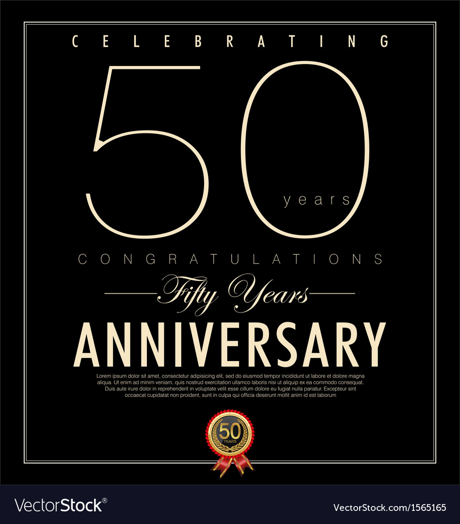 50 years anniversary black background vector | Price: 1 Credit (USD $1)