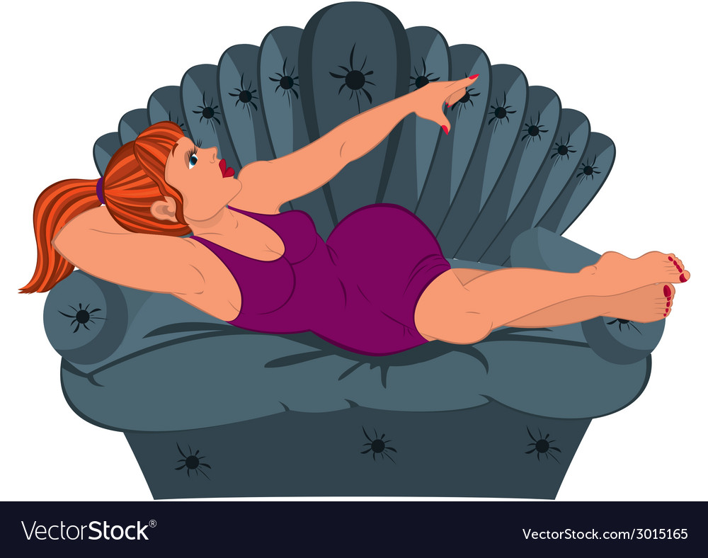 Cartoon woman in purple dress lying on the couch vector | Price: 1 Credit (USD $1)