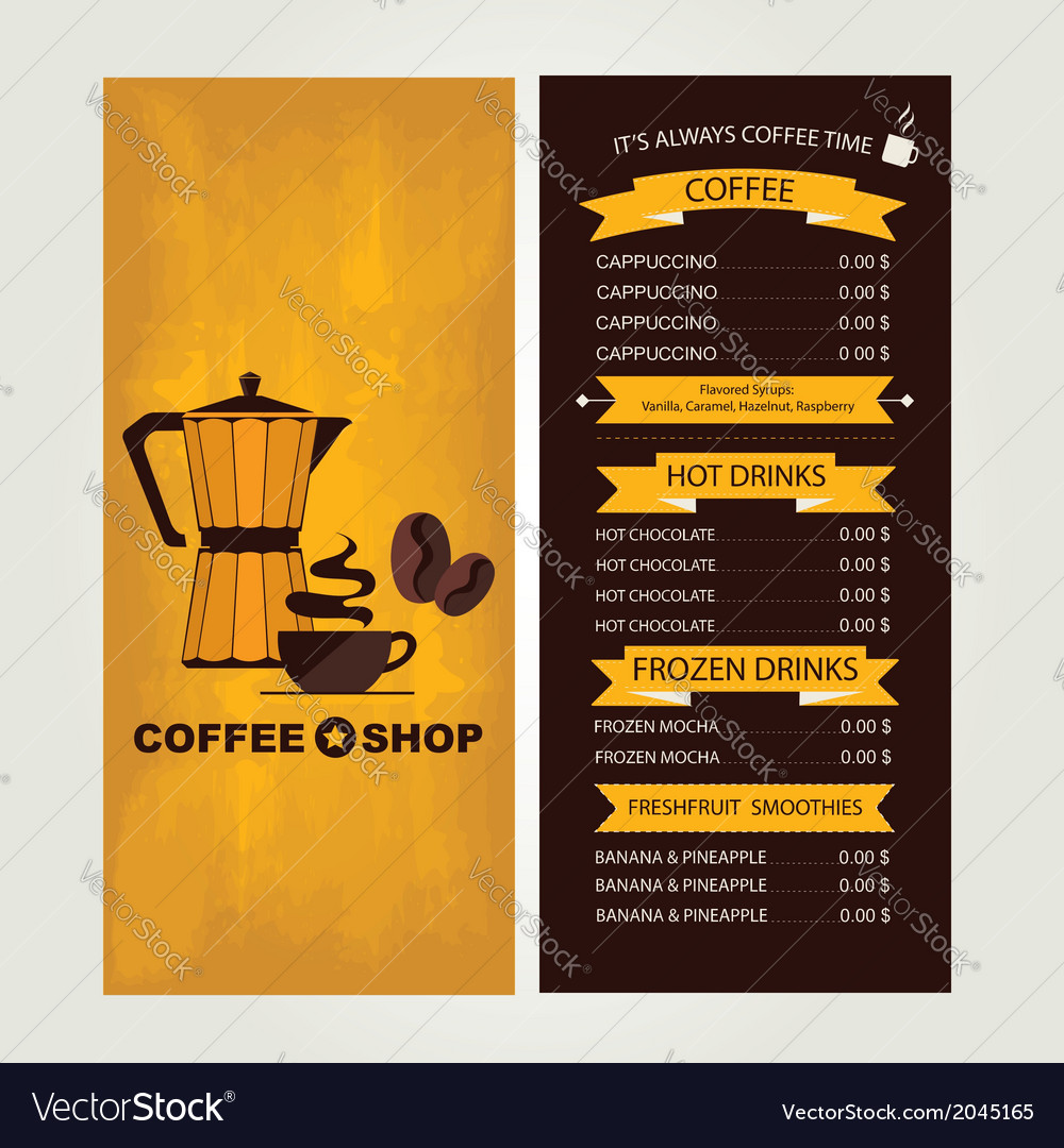 Coffee house menu restaurant template design vector | Price: 1 Credit (USD $1)