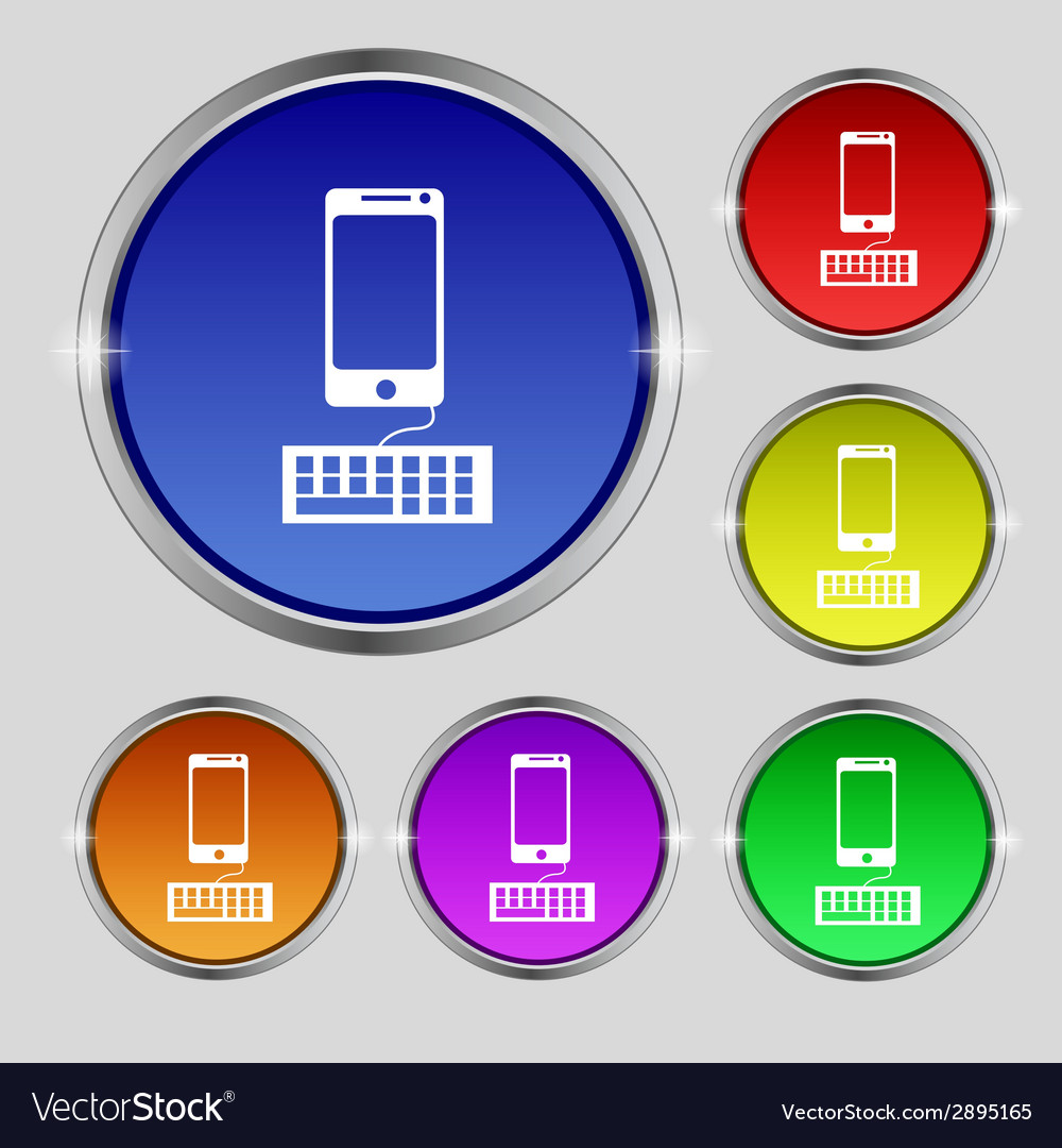 Computer keyboard and smatphone icon set colourful vector | Price: 1 Credit (USD $1)