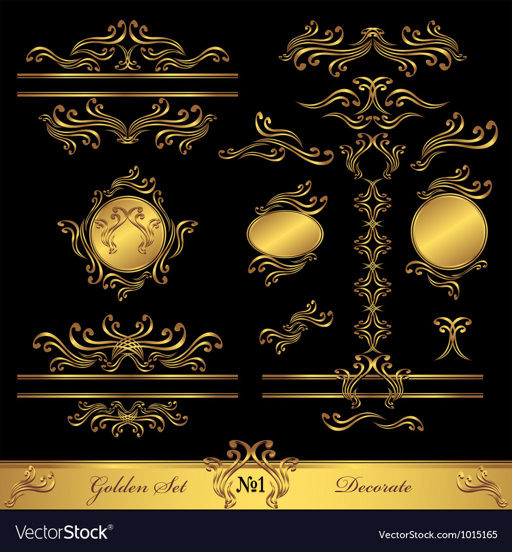 Golden set calligraphic and decorate elements vector | Price: 1 Credit (USD $1)