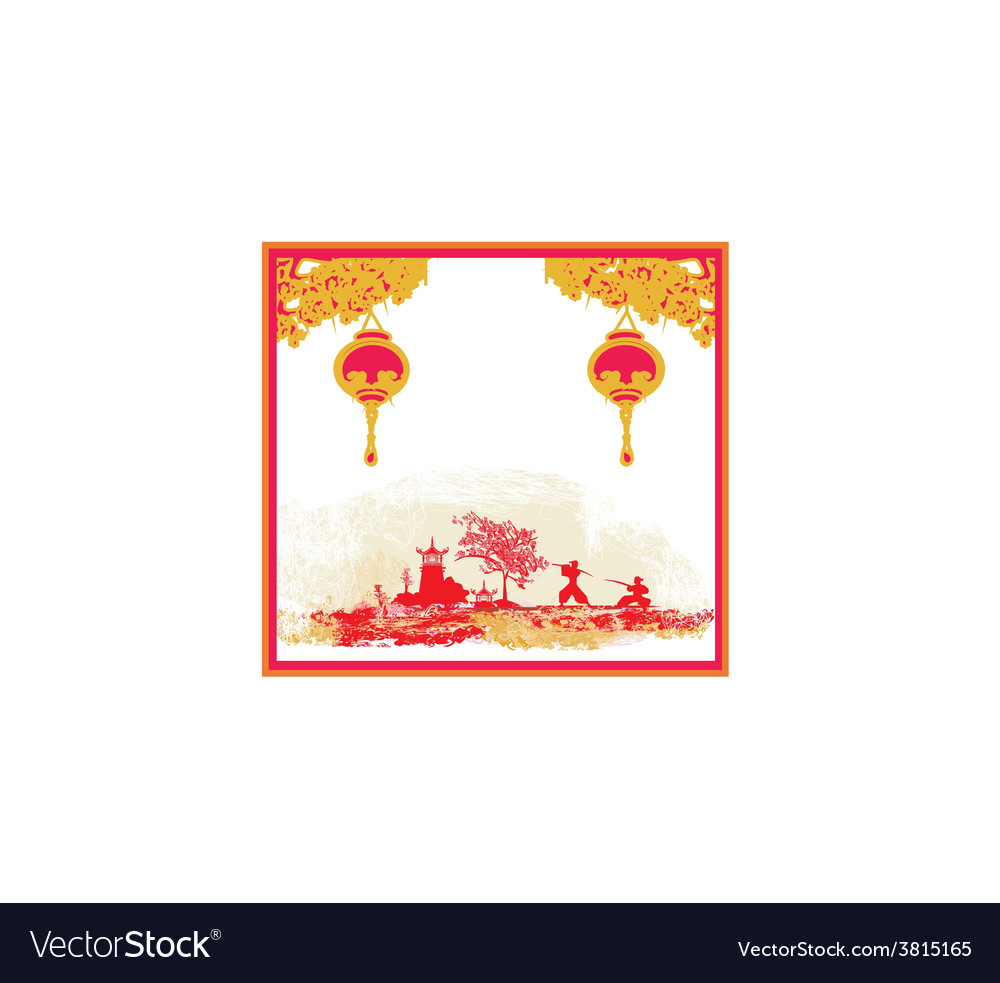 Old paper with samurai silhouette and chinese vector | Price: 1 Credit (USD $1)