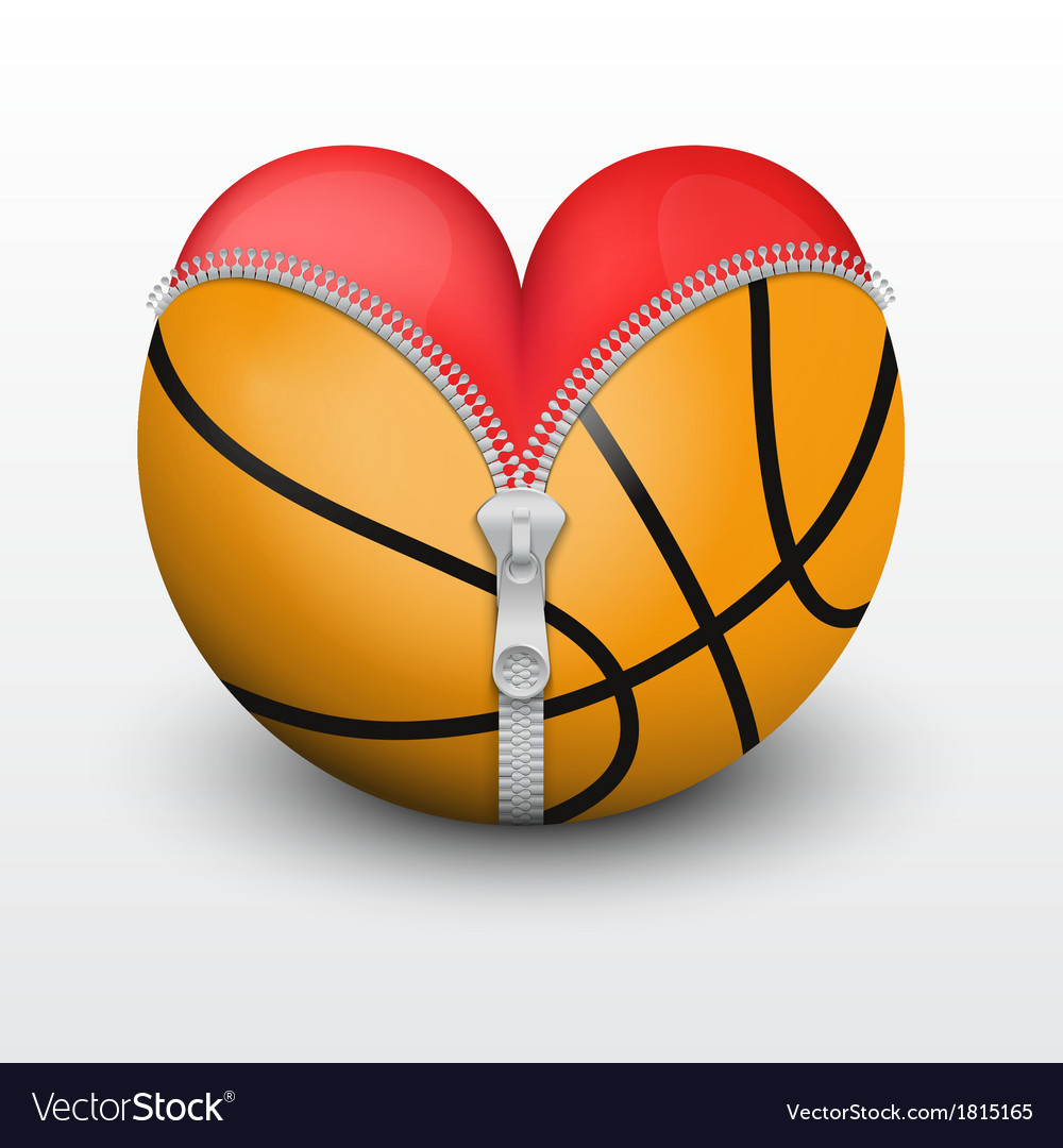 Red heart inside basketball ball vector | Price: 1 Credit (USD $1)