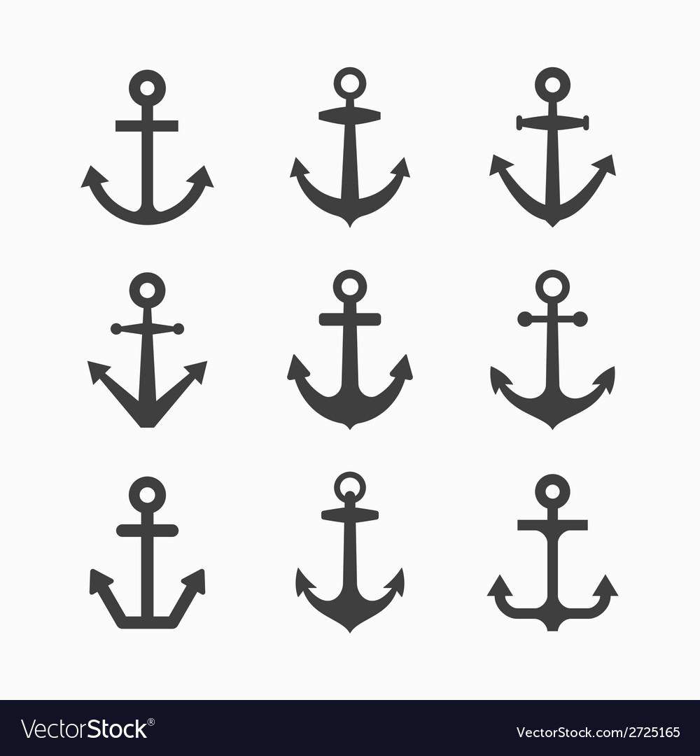 Set of anchor symbols vector | Price: 1 Credit (USD $1)