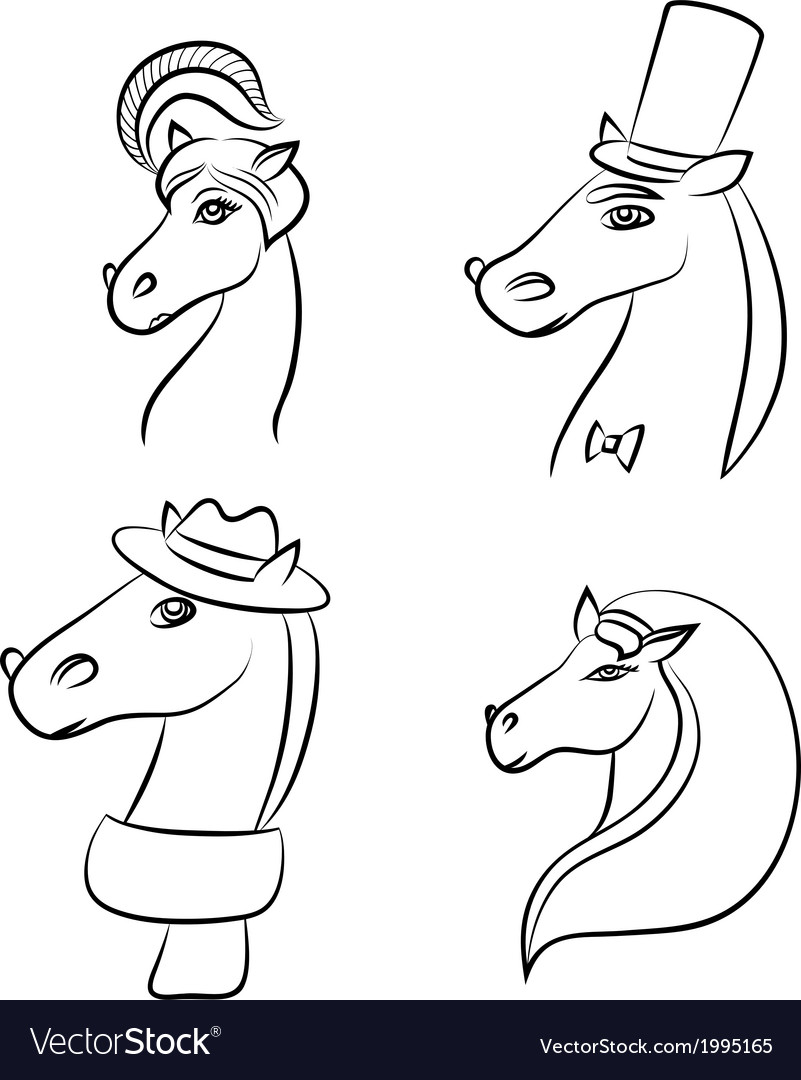 Set wirh horses vector | Price: 1 Credit (USD $1)