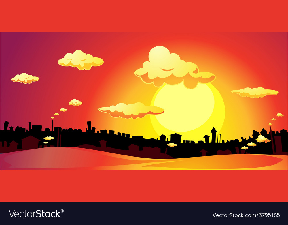 Sunset over the city - vector | Price: 1 Credit (USD $1)