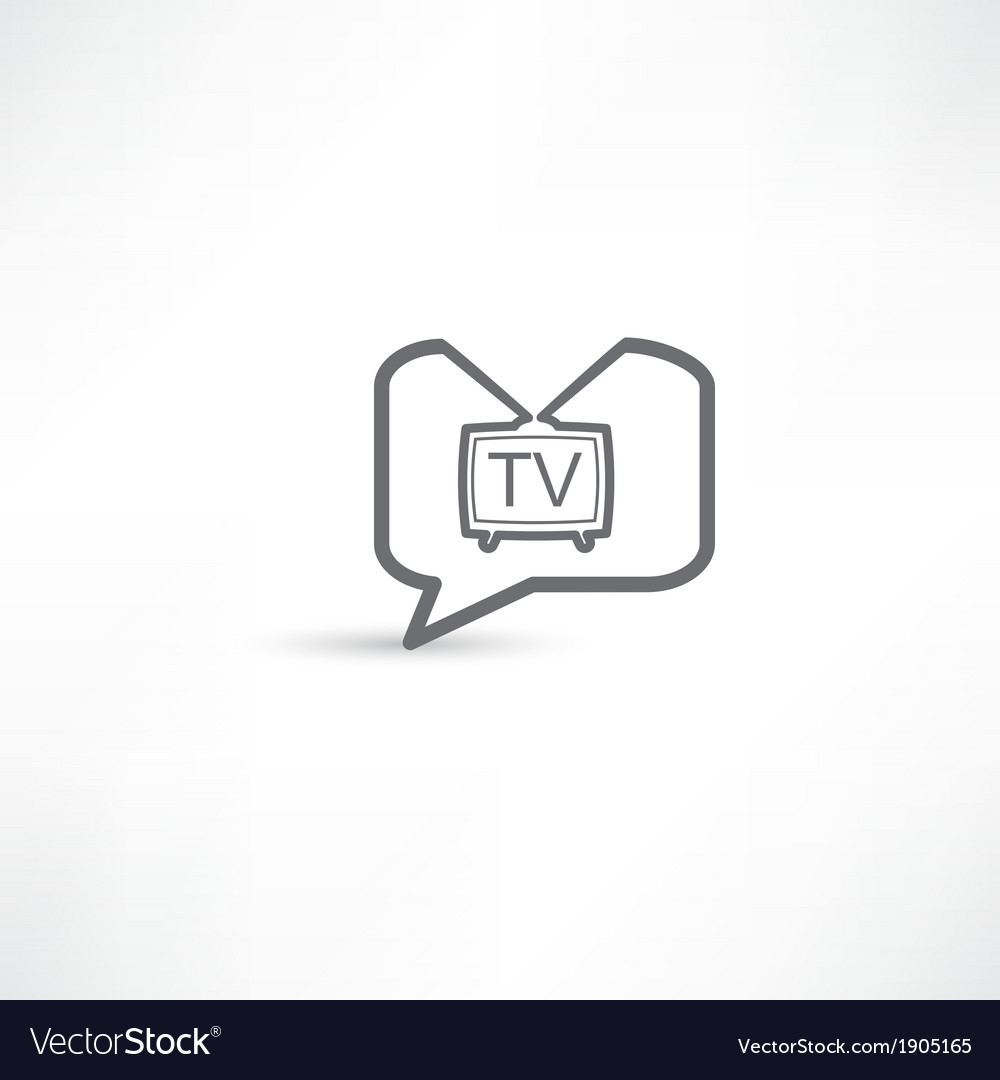 Television in a bubble speech grey vector | Price: 1 Credit (USD $1)