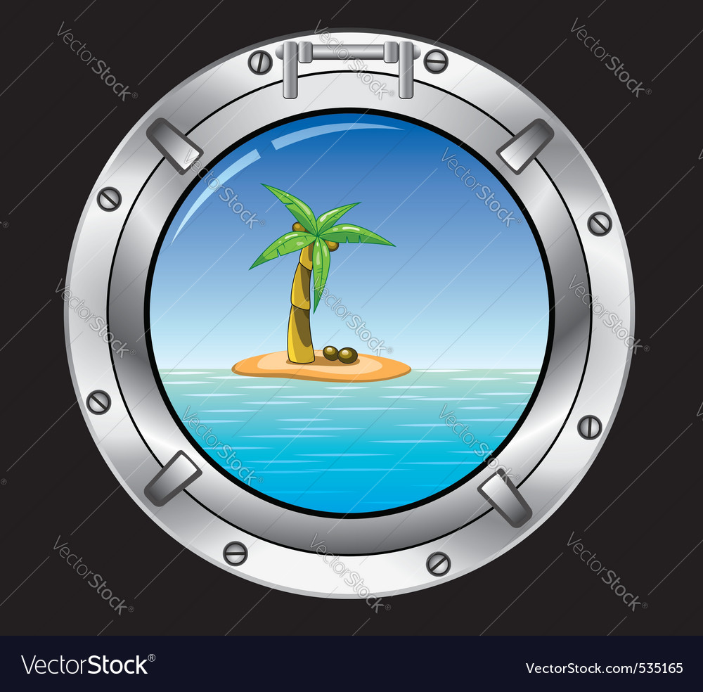 travel concept of metal porthole and palm t vector | Price: 1 Credit (USD $1)