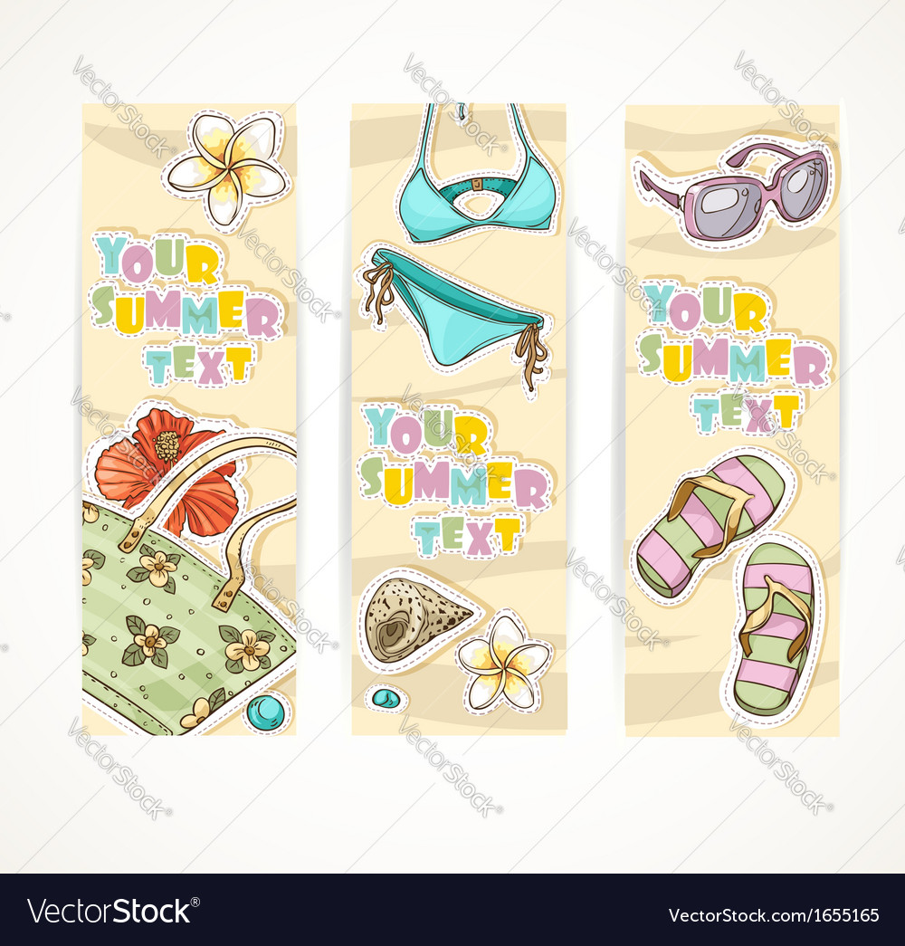 Vertical summer banner with young people beach vector   Price: 1 Credit (USD $1)