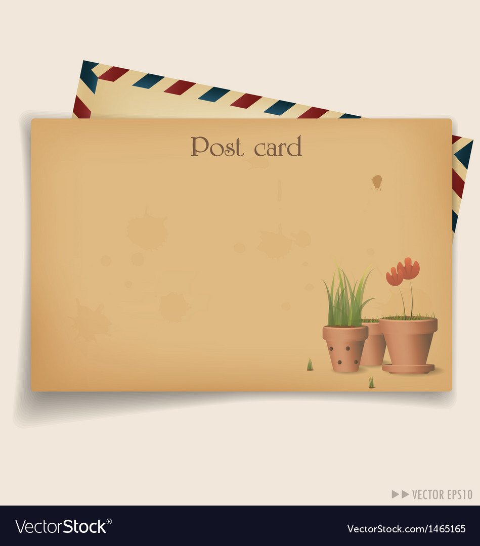 Vintage postcard envelope vector | Price: 1 Credit (USD $1)