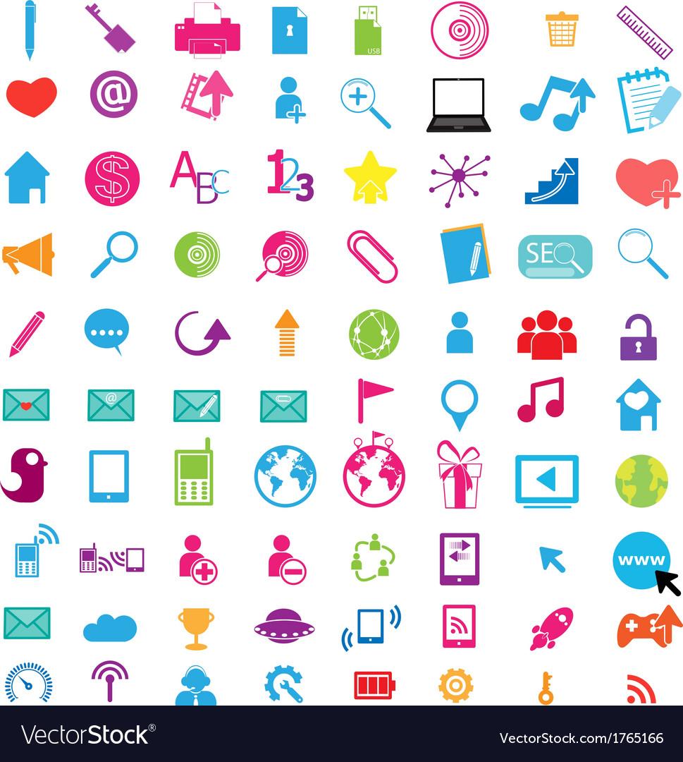 1social color media circles icon network vector | Price: 1 Credit (USD $1)