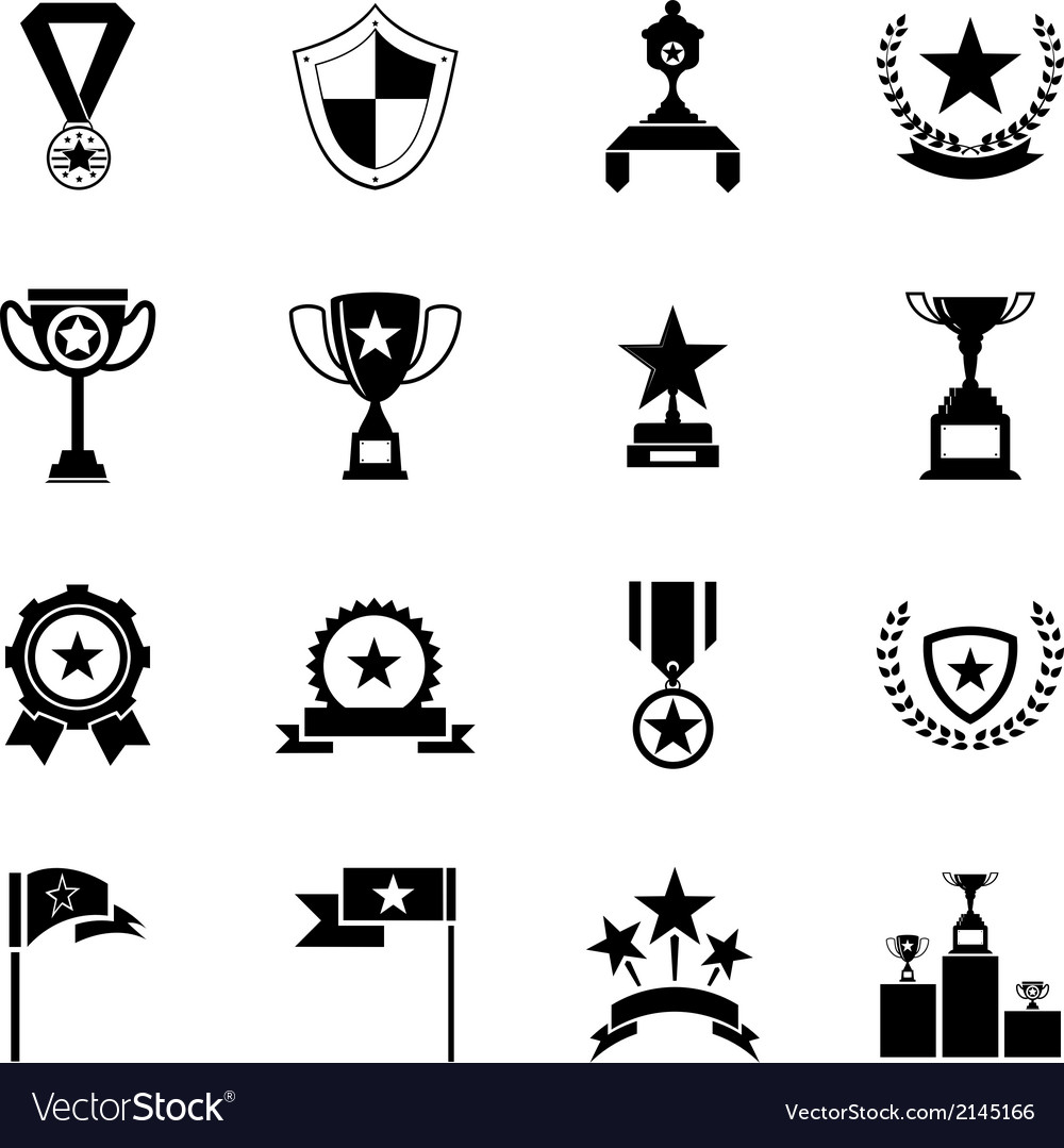 Awards symbols and trophy silhouette icons set vector | Price: 1 Credit (USD $1)