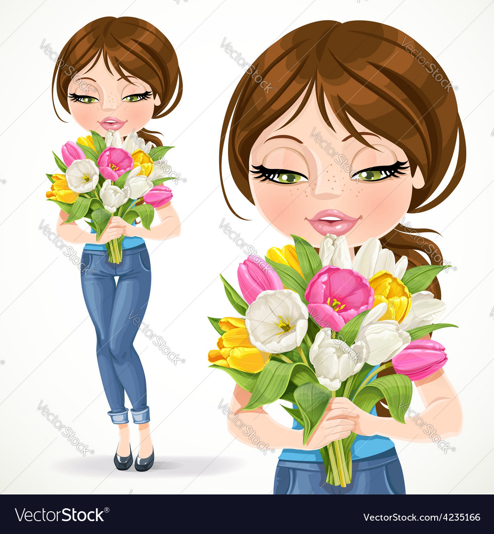Cute brunette girl holding beautiful bouquet of vector | Price: 3 Credit (USD $3)