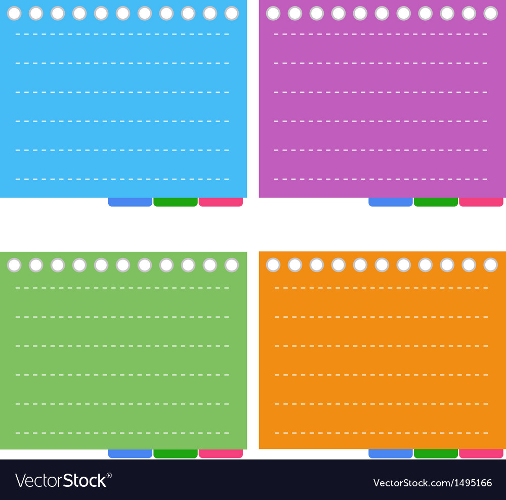Four color of lined spiral notepad papers vector | Price: 1 Credit (USD $1)