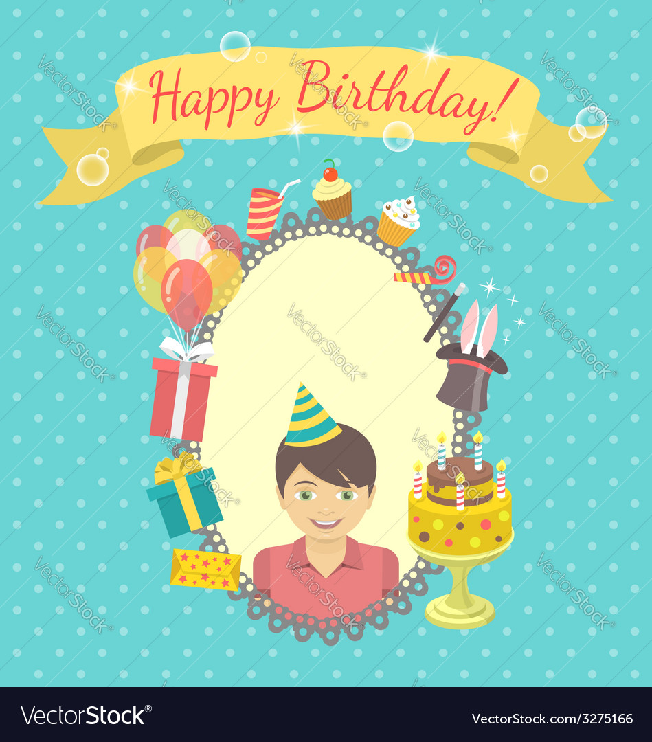 Happy birthday card for boy vector | Price: 1 Credit (USD $1)
