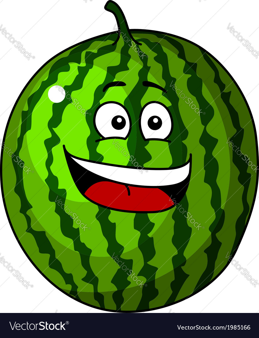 Happy refreshing green cartoon watermelon vector | Price: 1 Credit (USD $1)