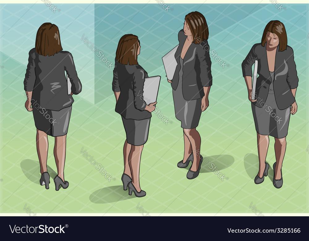 Isometric woman secretary standing vector | Price: 3 Credit (USD $3)