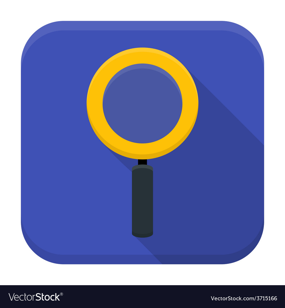 Magnifying glass app icon with long shadow vector | Price: 1 Credit (USD $1)