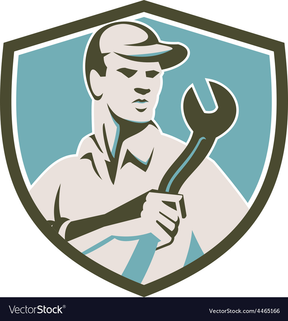 Mechanic holding spanner front shield retro vector | Price: 1 Credit (USD $1)