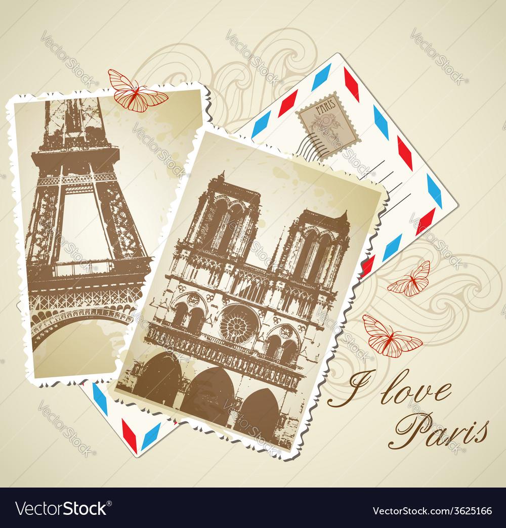 Old vintage photos of paris vector | Price: 1 Credit (USD $1)