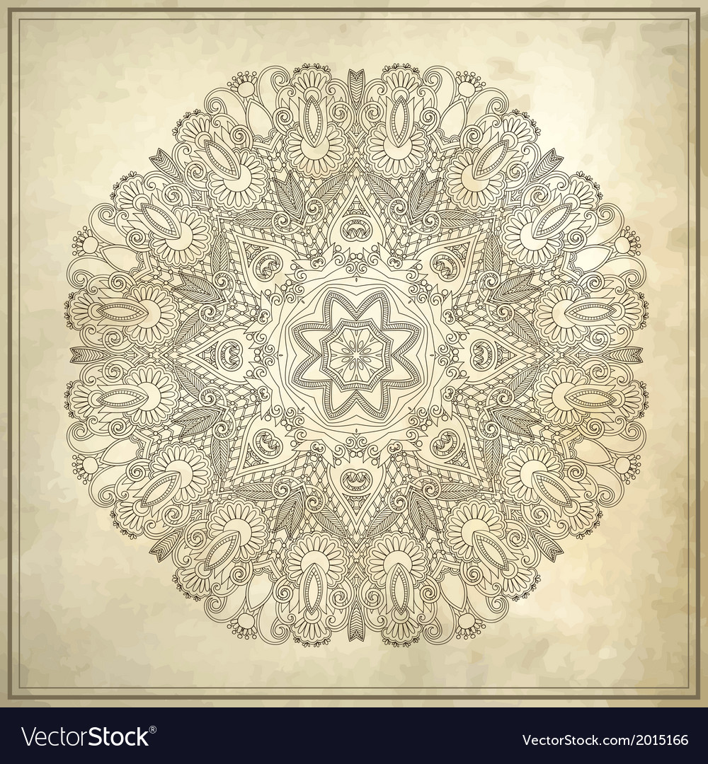 Ornamental floral circle pattern in grunge backgro vector | Price: 1 Credit (USD $1)