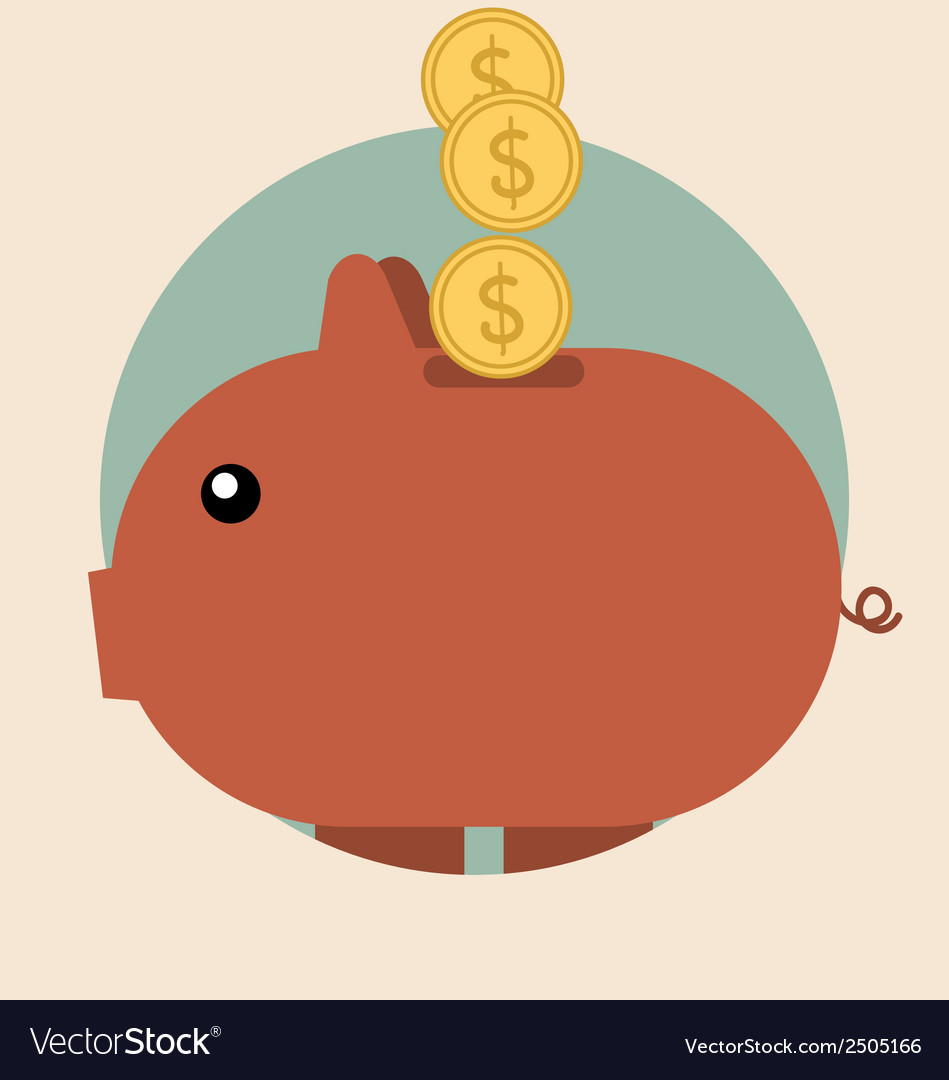 Piggy bank with coin over it modern flat design vector | Price: 1 Credit (USD $1)