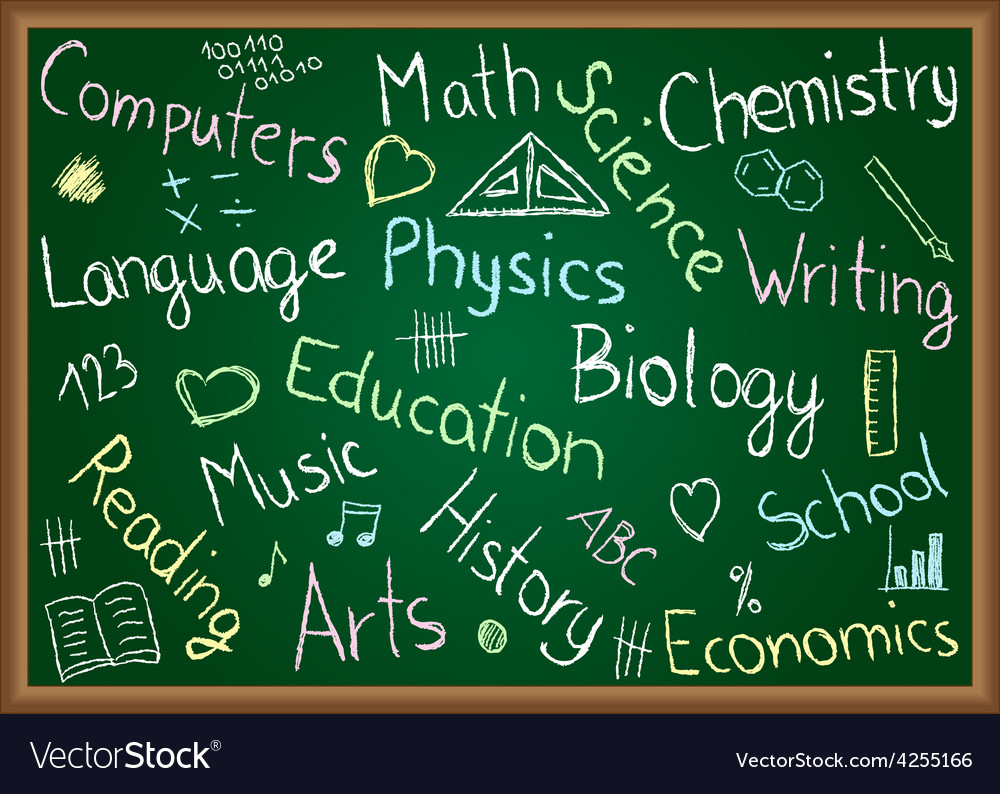 School subjects and doodles on chalkboard vector   Price: 1 Credit (USD $1)