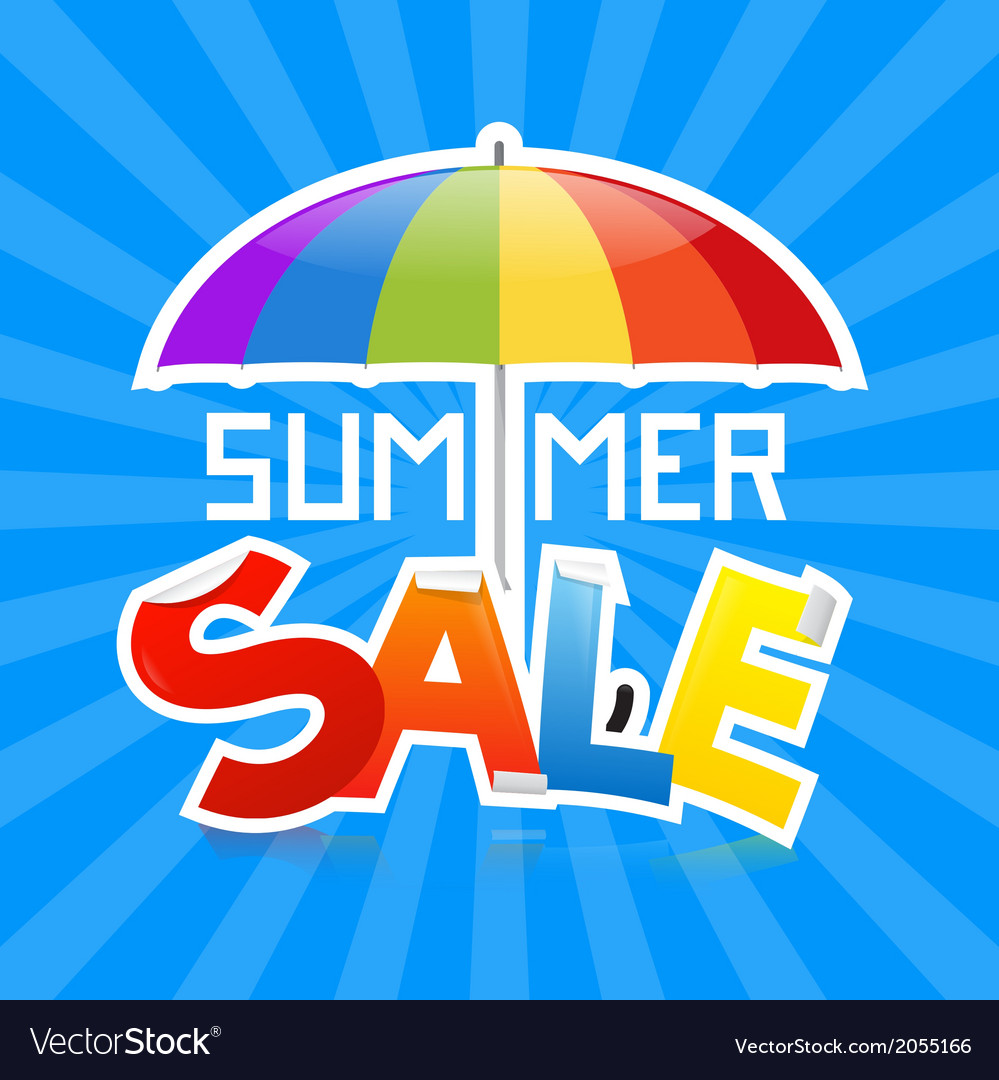 Summer sale on retro blue background vector | Price: 1 Credit (USD $1)
