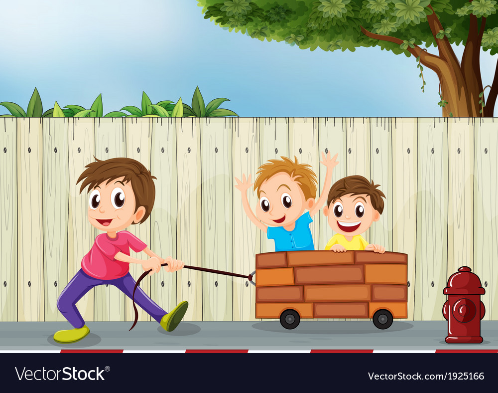 Three boys playing near the wooden wall vector | Price: 3 Credit (USD $3)